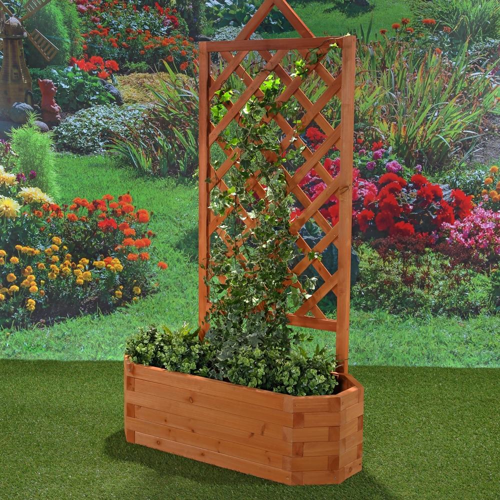 Rankhilfe mit ovalem blumenkasten holz spalier rankgitter - Biombos para jardin ...