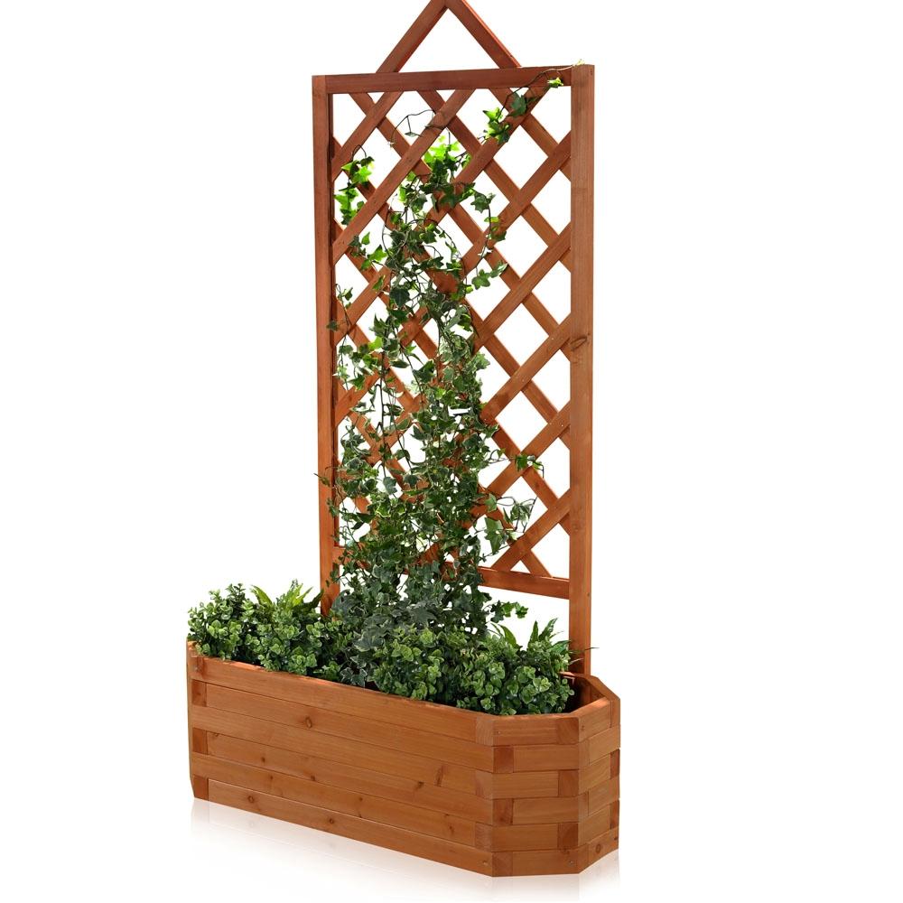 Blumenkasten Mit Rankgitter Holz Obi ~ Blumenkasten Holz Pflanzkasten Gartenbank 2 in 1 Blumenkuebel