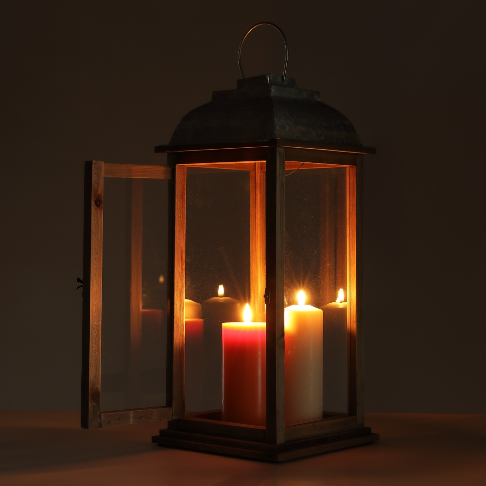 Viento luz 49cm candeleros farol holzlaterne gartenlaterne bodenlaterne