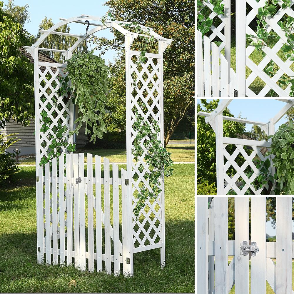 rosenbogen zwei t ren wei holz rankgitter gartent r laubengang garten tor ebay. Black Bedroom Furniture Sets. Home Design Ideas