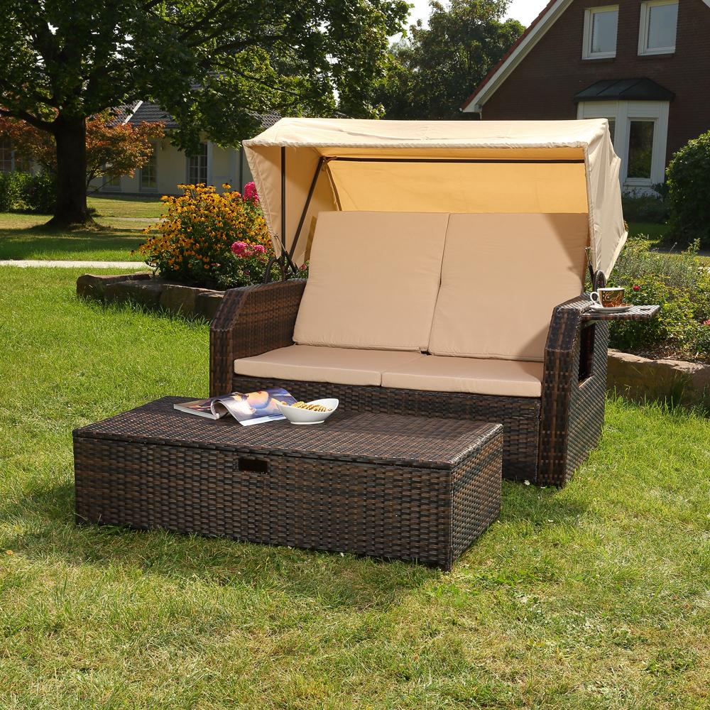 rattan sonnenbett dach rattan braun strandkorb sonnenliege liegebett relaxliege ebay. Black Bedroom Furniture Sets. Home Design Ideas