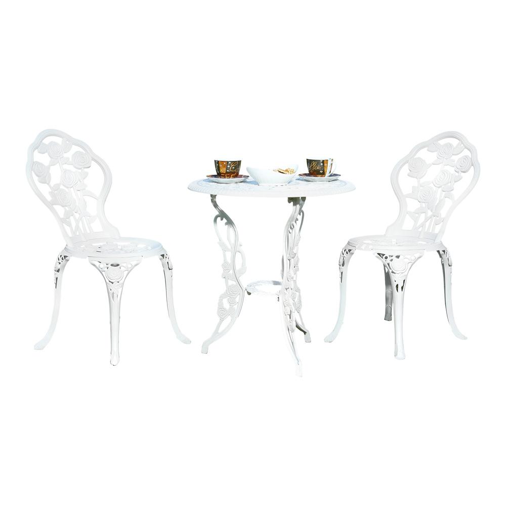 Gartenmobel Aus Paletten Selber Bauen :  Tisch + zwei Sitzhocker Bistro Set Gartenmöbel Weiß Gusseisen  eBay