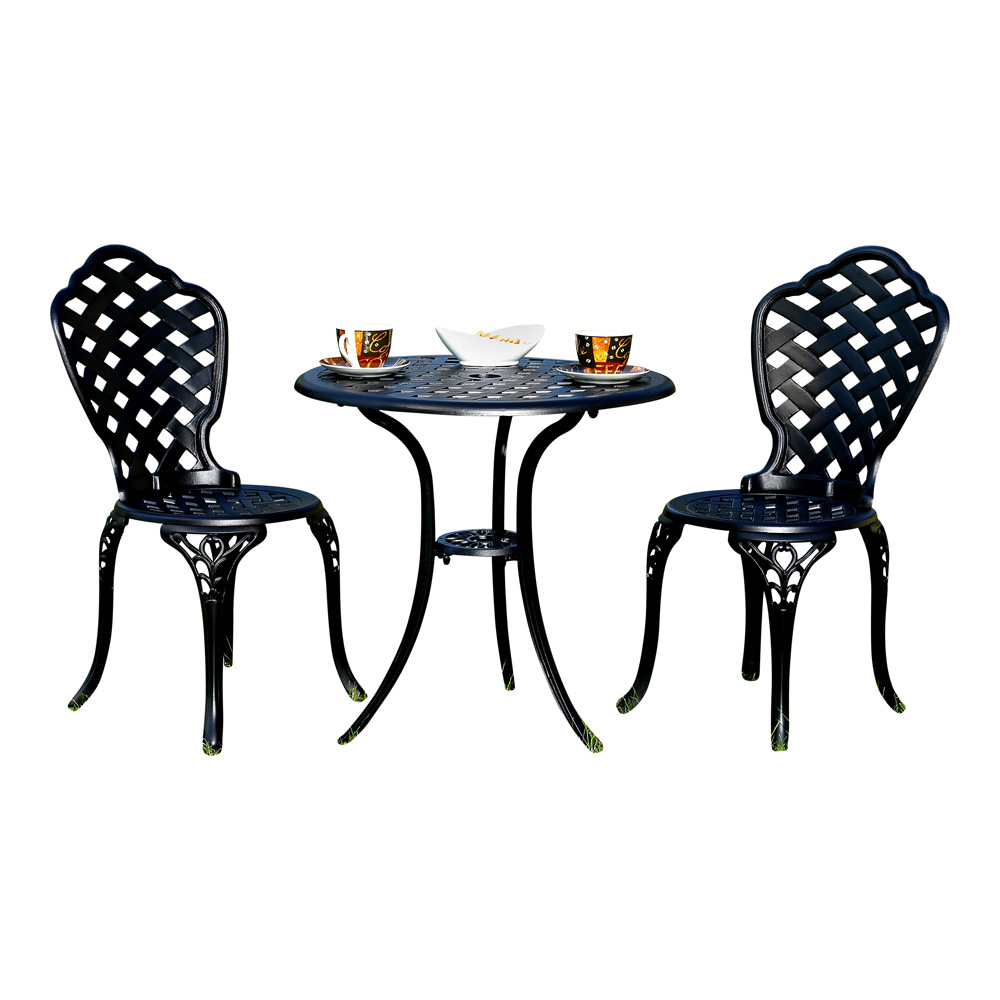 essgruppe garten tisch zwei sitzhocker bistro set gartenm bel wei gusseisen ebay. Black Bedroom Furniture Sets. Home Design Ideas
