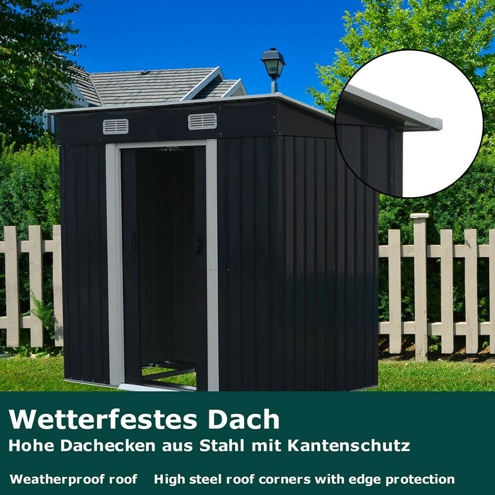 metall gartenhaus mit schiebet r ger teschuppen gartenschrank gartenhaus gr n ebay. Black Bedroom Furniture Sets. Home Design Ideas
