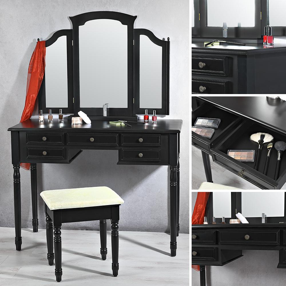 b ware schminktisch mit spiegel hocker schwarz. Black Bedroom Furniture Sets. Home Design Ideas
