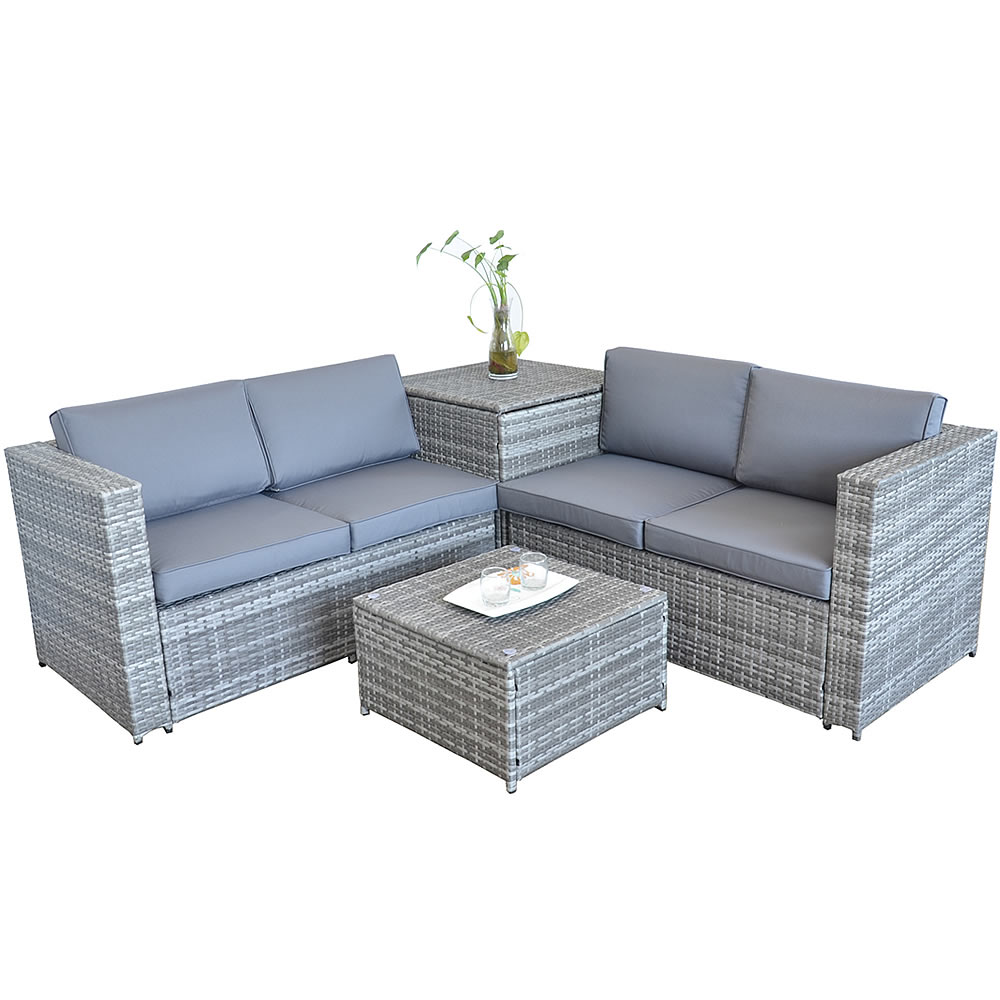 rattan lounge tisch und kissenbox in grau garten sofa lounge gartenm bel ebay. Black Bedroom Furniture Sets. Home Design Ideas