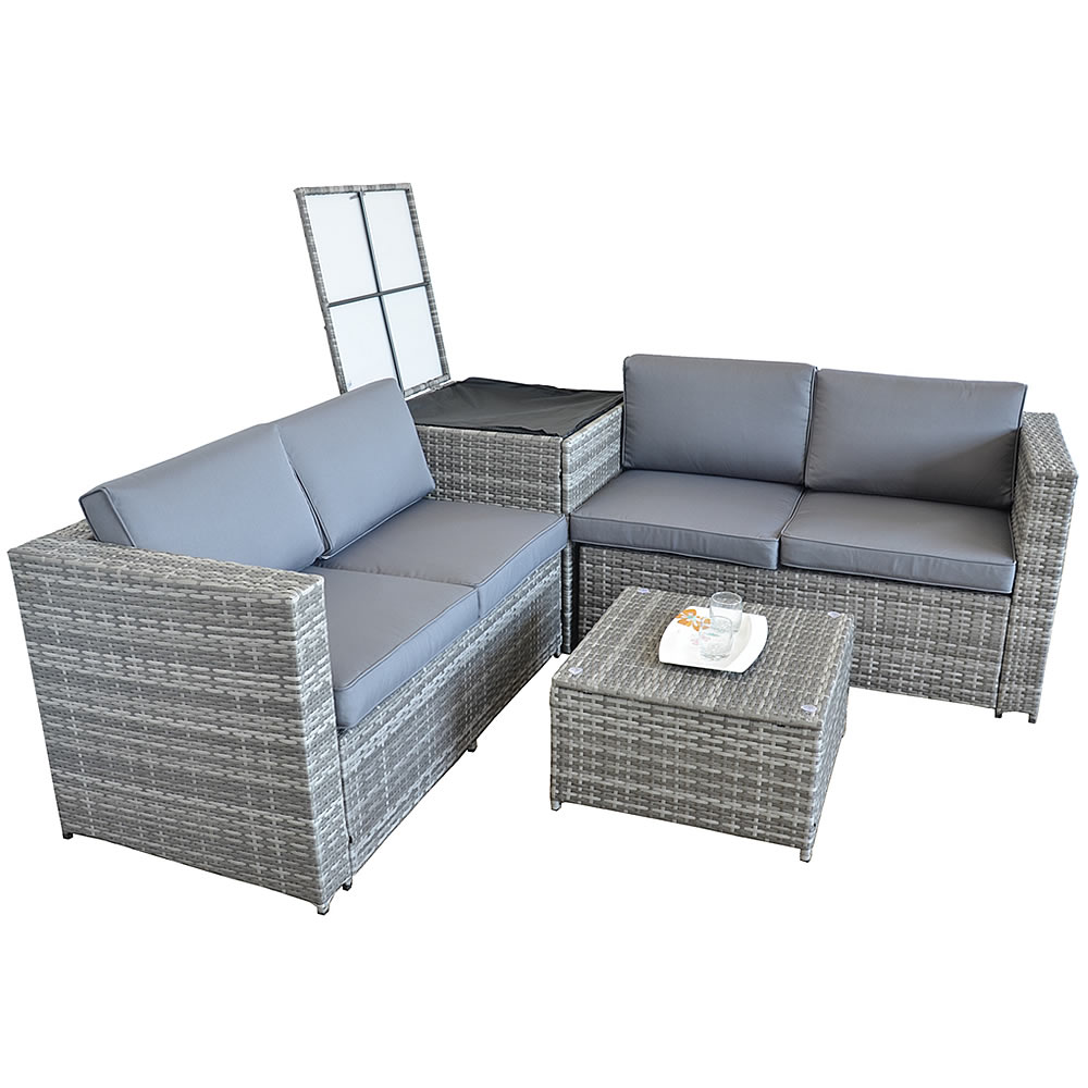 xxl polyrattan sitzgruppe auflagenbox garten sofa sitzgarnitur gartenset grau ebay. Black Bedroom Furniture Sets. Home Design Ideas