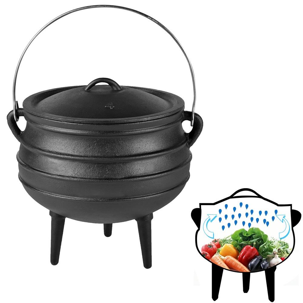 12l potjie dutch oven feuertopf gulaschkanone gusseisen grill pfanne kochtopf ebay. Black Bedroom Furniture Sets. Home Design Ideas