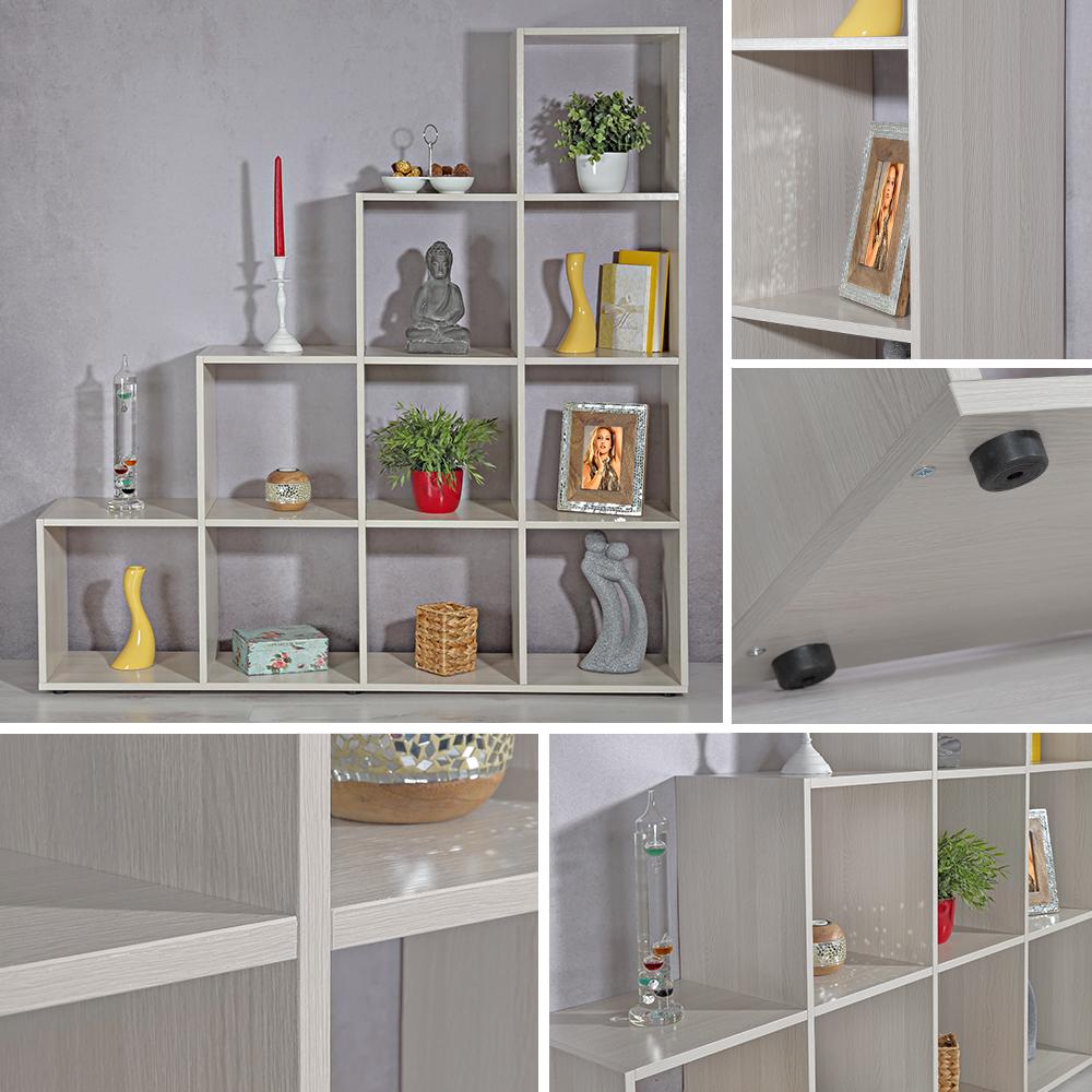 treppenregal grau braun 10 f cher raumteiler b cherregal. Black Bedroom Furniture Sets. Home Design Ideas