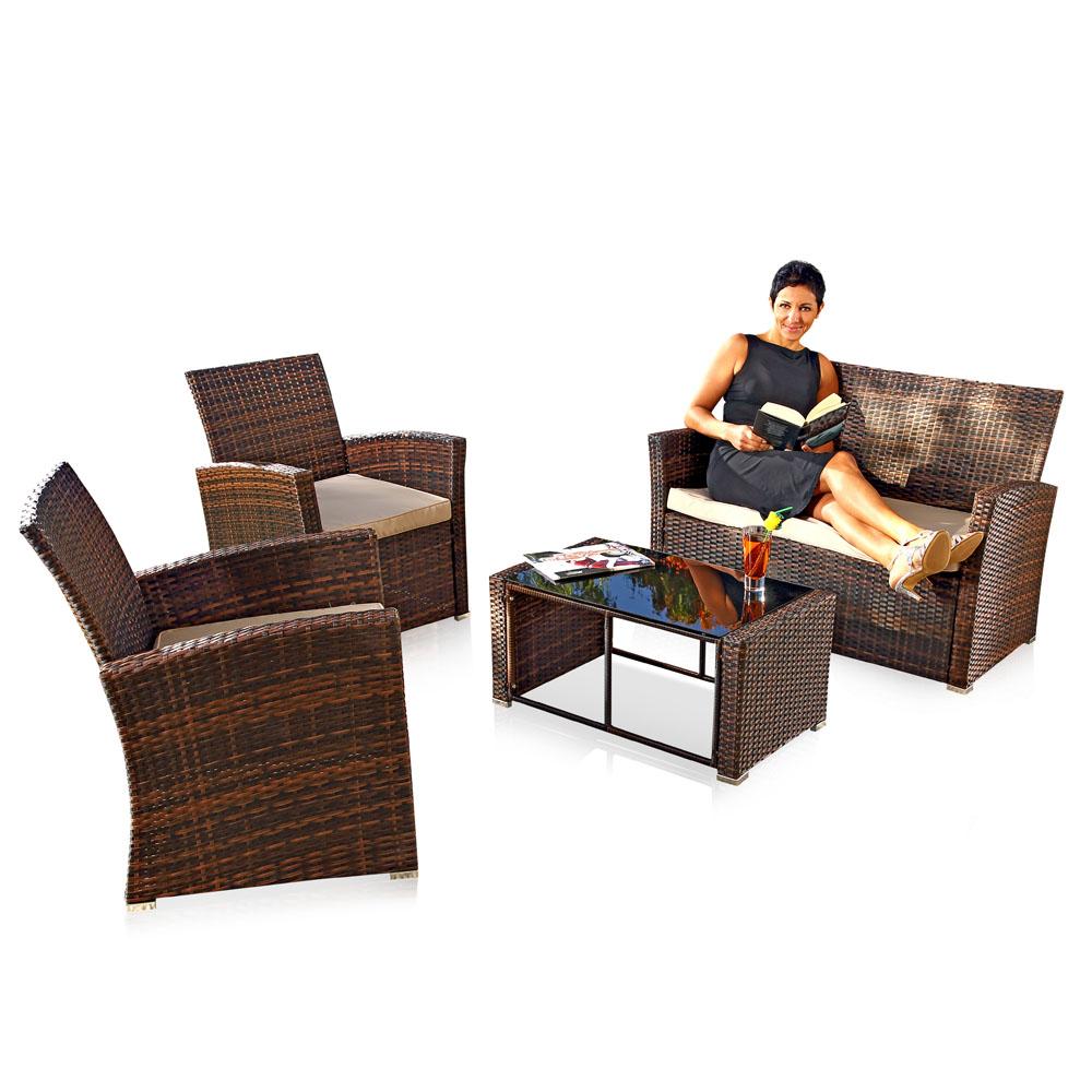 polyrattan lounge sitzgarnitur sitzgruppe gartenm bel. Black Bedroom Furniture Sets. Home Design Ideas