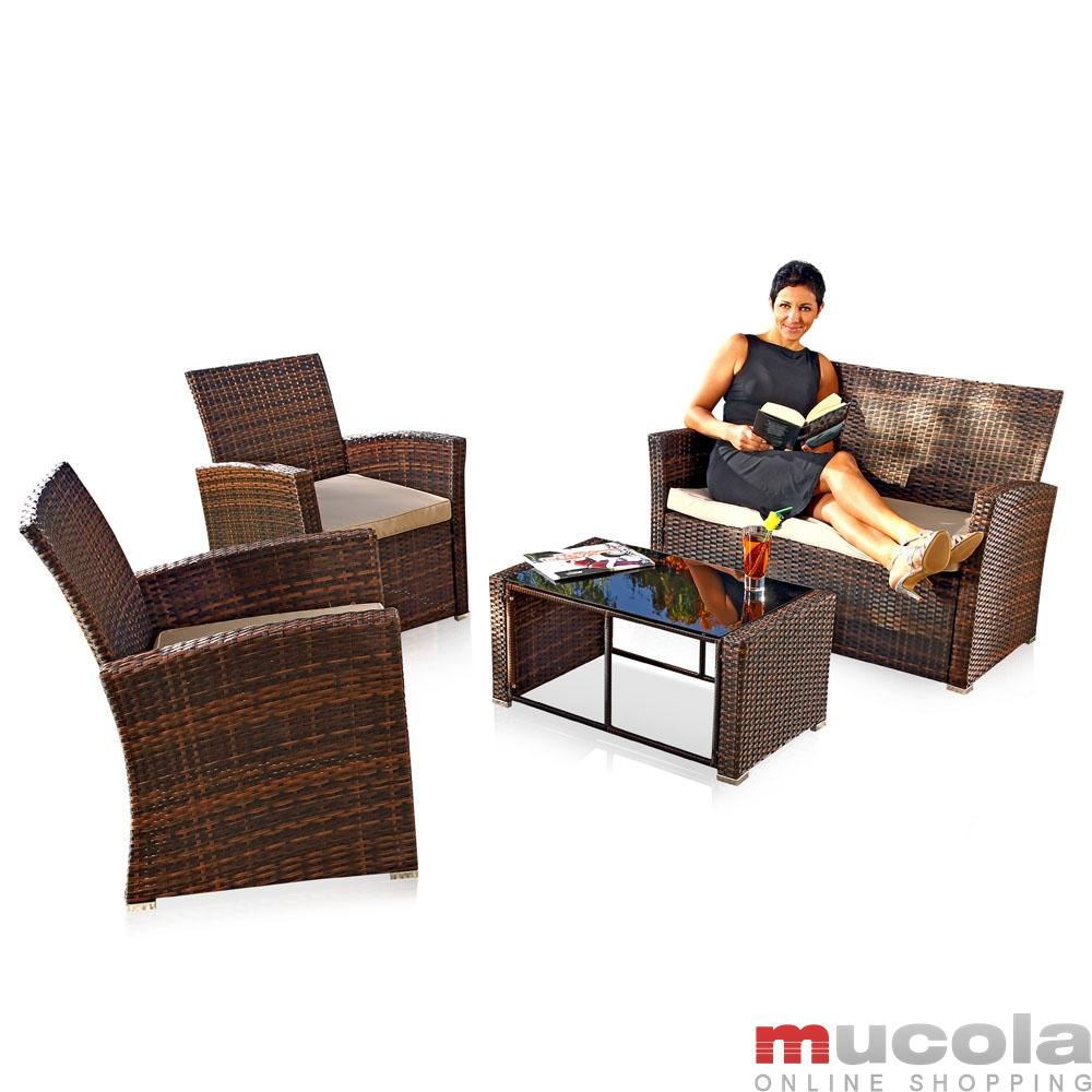 polyrattan lounge sitzgarnitur sitzgruppe gartenm bel. Black Bedroom Furniture Sets. Home Design Ideas