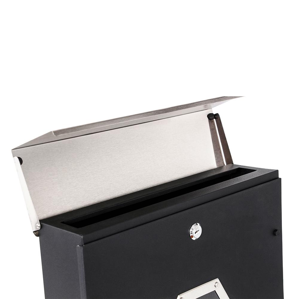 Briefkasten Edelstahl Hausbriefkasten Schwarz Zeitungsrohr Wandbriefkasten