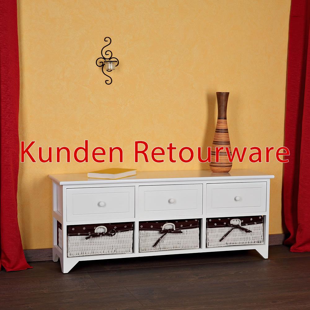 B ware sideboard kommode schubladenschrank regal holz braun/weiß ...