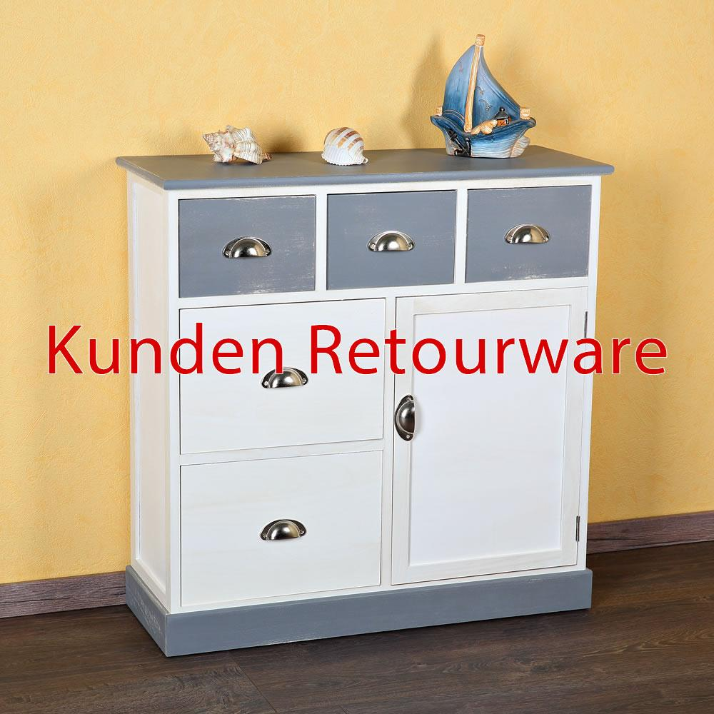 b ware sideboard kommode schubladenschrank regal holz braun wei k chenschrank ebay. Black Bedroom Furniture Sets. Home Design Ideas