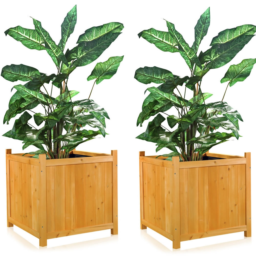 2xgarten blumenk bel aus holz pflanzkasten blumentrog blumentopf bertopf ebay. Black Bedroom Furniture Sets. Home Design Ideas