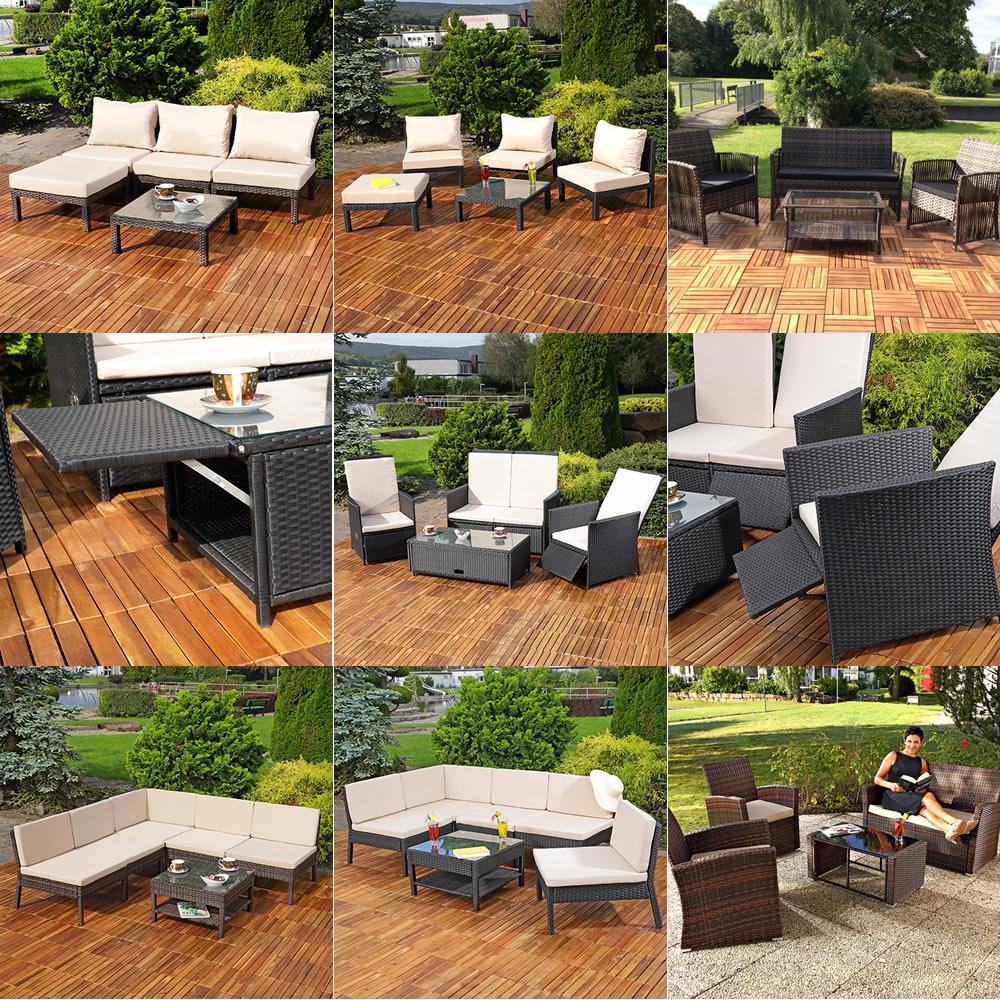 Polyrattan Lounge Sitzgarnitur Sitzgruppe Gartenmöbel Gartenlounge ...