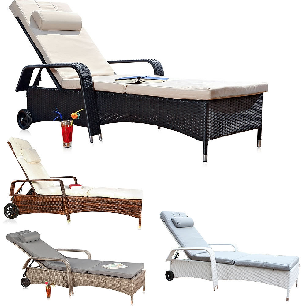 loungeliege rattan sonnenliege gartenliege relaxliege terrassenliege balkonliege ebay. Black Bedroom Furniture Sets. Home Design Ideas