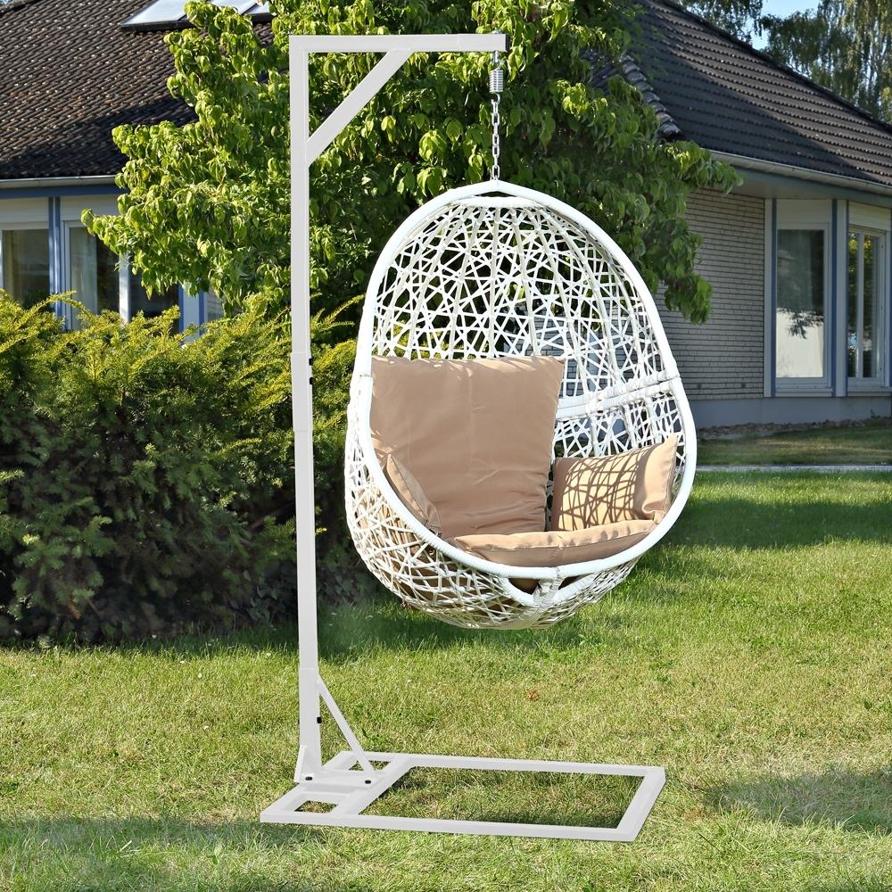 swing chair wei h ngestuhl schwebesitz h ngender sessel rattan h ngesessel ebay. Black Bedroom Furniture Sets. Home Design Ideas