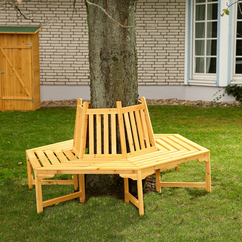 Circle Tree Bench ~ Round circular wooden tree bench outdoor garden furniture