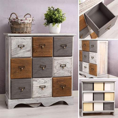 kommode inkl 9 schubladen patchwork shabby look braun grau wei paulownia holz ebay. Black Bedroom Furniture Sets. Home Design Ideas