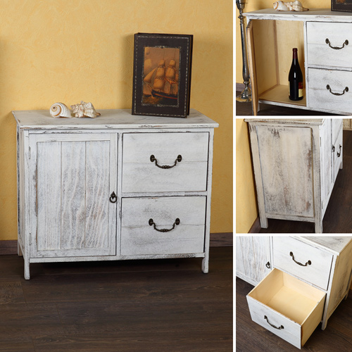 shabby kommode schrank regal sideboard k chenschrank holz vintage stil wei ebay. Black Bedroom Furniture Sets. Home Design Ideas