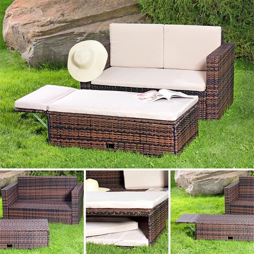 Sofa Bank Tisch klappbar Rattan Gartenset Sitzmöbel braun  eBay