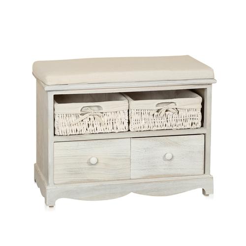 bank sitzbank holz wei truhe flurbank kommode mit schubf chern holzbank ebay. Black Bedroom Furniture Sets. Home Design Ideas
