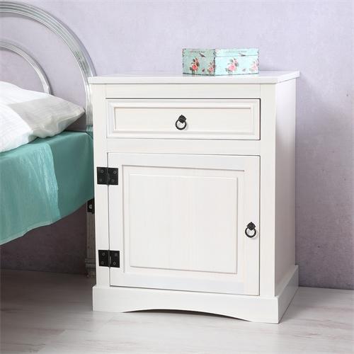 2 st ck nachtschrank schlafzimmer wei aus holz mit. Black Bedroom Furniture Sets. Home Design Ideas