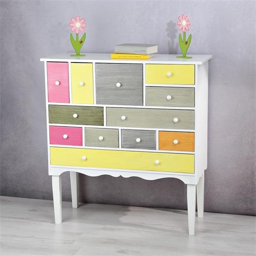 b ware sideboard kommode schubladenschrank regal holz braun wei k chenschrank ebay. Black Bedroom Furniture Sets. Home Design Ideas