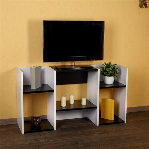 fernsehtisch wandregal holz wei schwarz standregal tv board mit ablagef chern. Black Bedroom Furniture Sets. Home Design Ideas