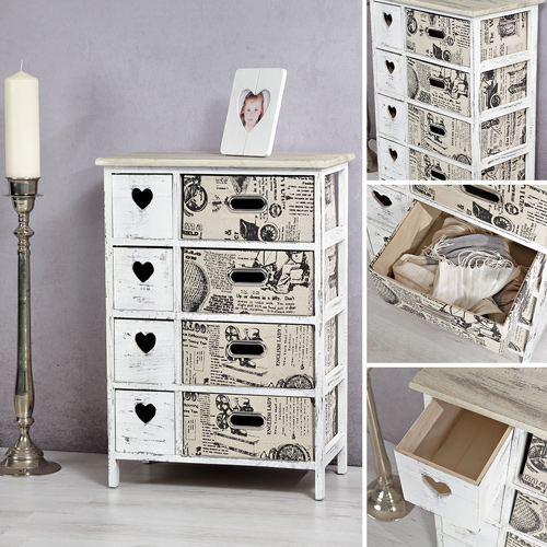 shabby chic sideboard mit korbschubladen schrank regal kommode highboard diele ebay. Black Bedroom Furniture Sets. Home Design Ideas