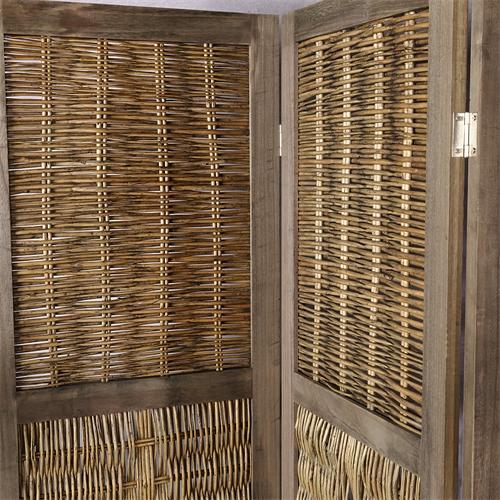 Raumteiler paravent 3 tlg vintage stil used look sichtschutz shabby stellwand ebay - Biombos de mimbre ...