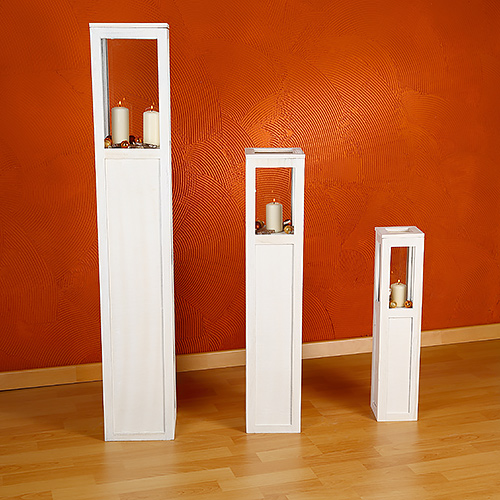 3 tlg set windlichter wei braun windlichterset laterne holzlaterne kerze s ule ebay. Black Bedroom Furniture Sets. Home Design Ideas