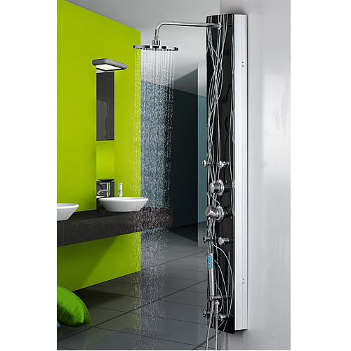 verre panneau de douche buses de massage incl douche pluie colonne de douche douche salle de. Black Bedroom Furniture Sets. Home Design Ideas