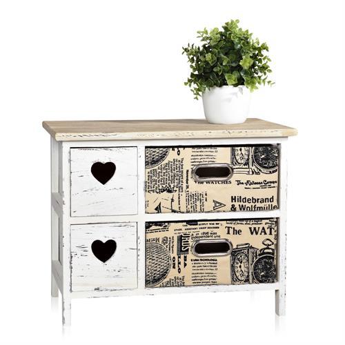 shabby chic sideboard mit korbschubladen schrank regal. Black Bedroom Furniture Sets. Home Design Ideas