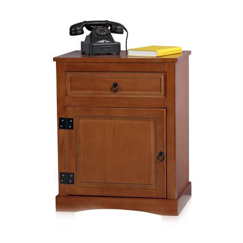 kommode anrichte braun mit 3 schubladen schriftzug wei. Black Bedroom Furniture Sets. Home Design Ideas
