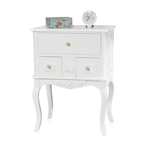 nachttisch nachtkonsole schrank schlafzimmer weiß braun kommode ... - Schlafzimmer Weis Vintage