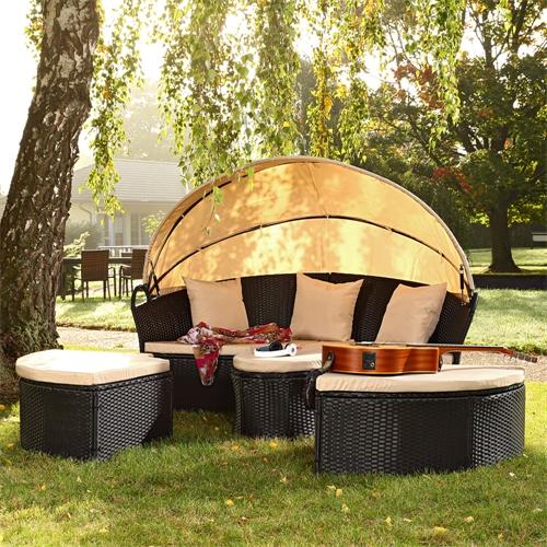 Sonneninsel-mit-Tisch-Rattan-Polyrattan-Gartenmuschel-Sonnenliege-Braun-Schwarz