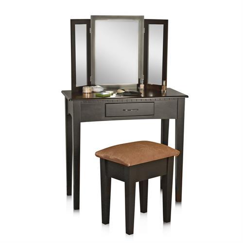 Kosmetiktisch m spiegel hocker in wei braun sekret r - Schminktisch braun ...