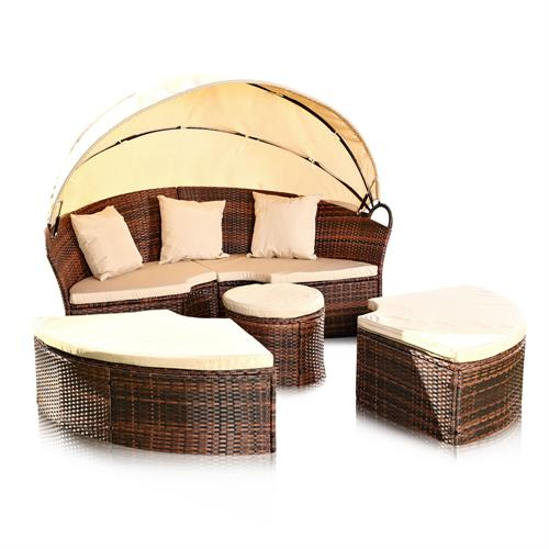 sonneninsel rattan sonnenliege gartenm bel gartenlounge sitzgarnitur lounge b s ebay. Black Bedroom Furniture Sets. Home Design Ideas