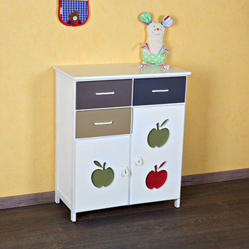 patchwork kommode apfel sideboard regal kinderzimmer baby wei kinder badschrank ebay. Black Bedroom Furniture Sets. Home Design Ideas