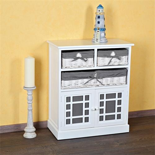 kommode mit 3 k rben schrank sideboard badschrank regal wei grau landhaus wei ebay. Black Bedroom Furniture Sets. Home Design Ideas