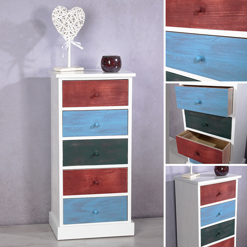hochschrank kommode flur schrank patchwork bunte schubladen shabby chic anrichte ebay. Black Bedroom Furniture Sets. Home Design Ideas