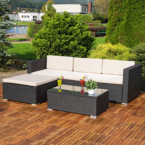 rattan gartenbank mit auflage schwarz beige sitzbank. Black Bedroom Furniture Sets. Home Design Ideas
