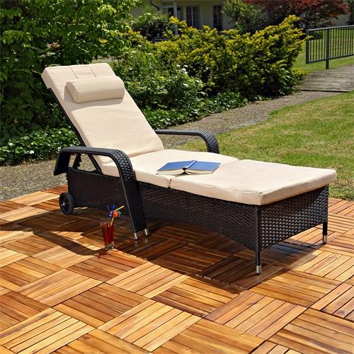 rattan loungeliege sonnenliege gartenliege relaxliege terrassenliege balkonliege ebay. Black Bedroom Furniture Sets. Home Design Ideas