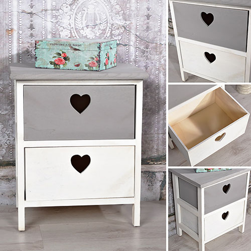 2 st ck nachtschr nke schubladen herzen wei grau holz. Black Bedroom Furniture Sets. Home Design Ideas