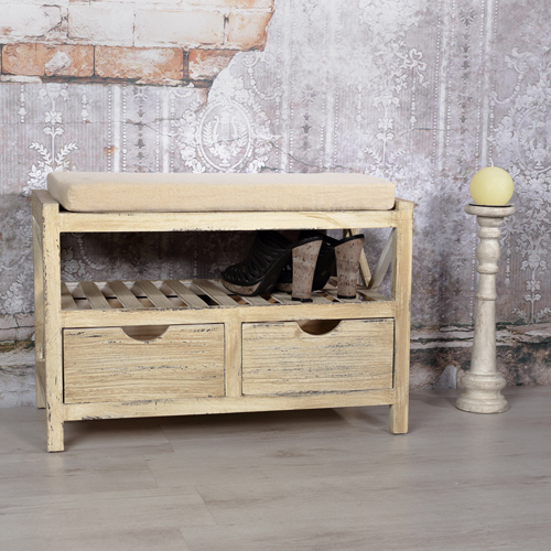 flurbank sitzbank und kissen wei braun kommode mit k rben schuhregal holz truhe ebay. Black Bedroom Furniture Sets. Home Design Ideas