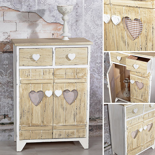 kommode shabby anrichte sideboard 2 t ren 2 schubladen wei braun schrank holz ebay. Black Bedroom Furniture Sets. Home Design Ideas