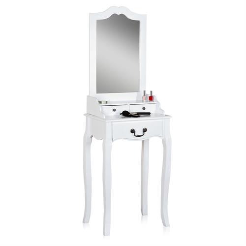 kosmetiktisch m spiegel hocker in wei braun sekret r. Black Bedroom Furniture Sets. Home Design Ideas