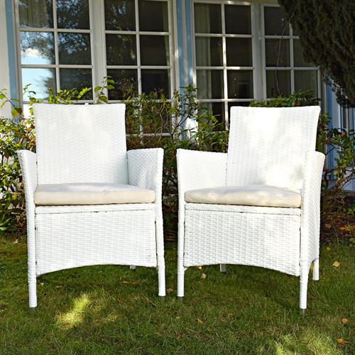 2x set polyrattan rattan st hle wei stuhl gartenstuhl rattanstuhl gartenm bel ebay. Black Bedroom Furniture Sets. Home Design Ideas